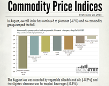 Commodity price indices in August 2015
