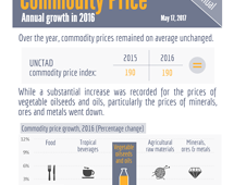 Commodity prices - Annual growth in 2016